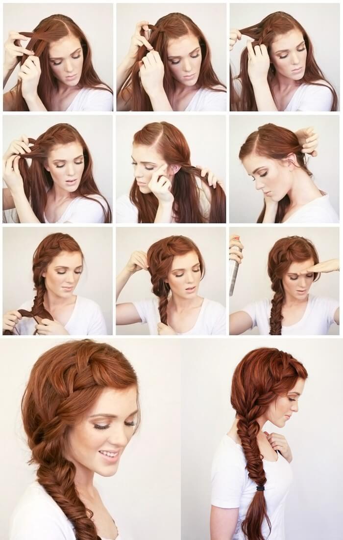 Прическа на средние волосы быстро своими руками фото поэтапно