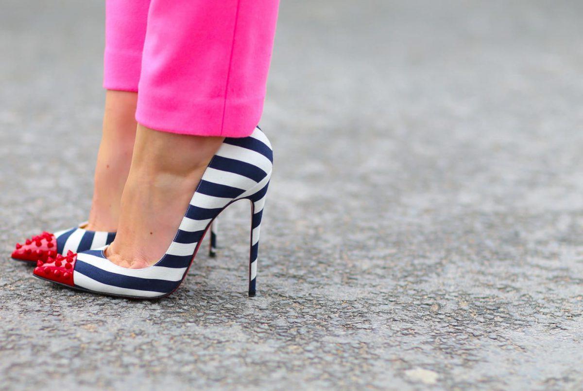 полосатые туфли