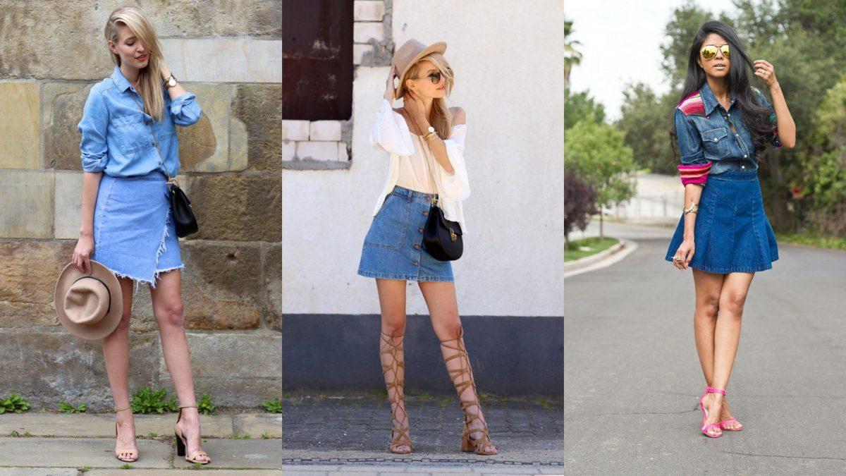 С чем носить джинсовую юбку: 10 вариантов изоражения