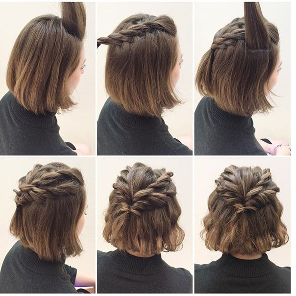 439907489fe В представленном видео вы увидите примеры создания причёсок из коротких  волос в домашних условиях.